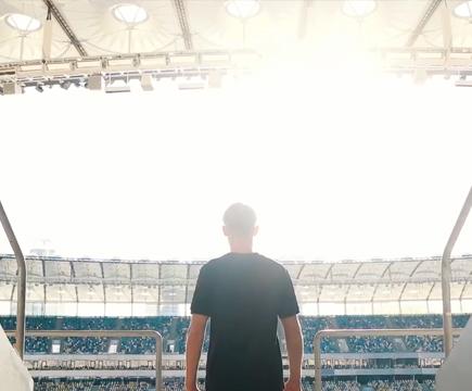 Fan enters stadium