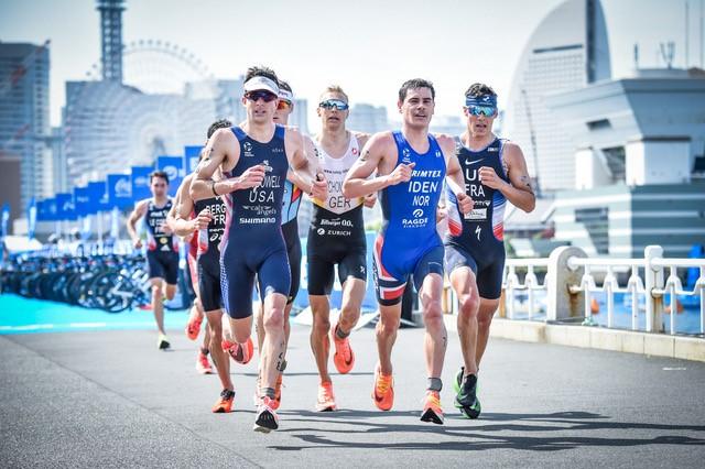 World Triathlon runners at triathlon event