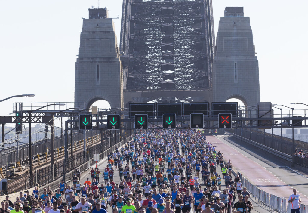 Sydney Harbour 10k road event runners on Harbour Bridge