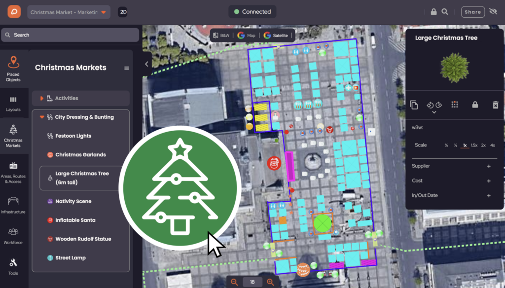 Place Christmas tree on event plan in OnePlan