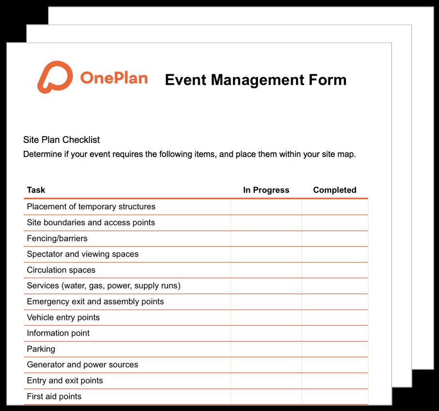 OnePlan Event Management Form